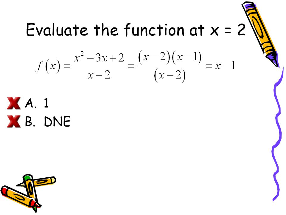 Evaluate the function at x = 2