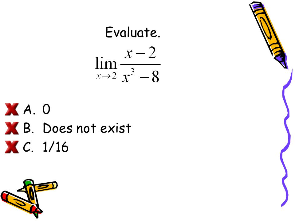 Evaluate. Does not exist 1/16