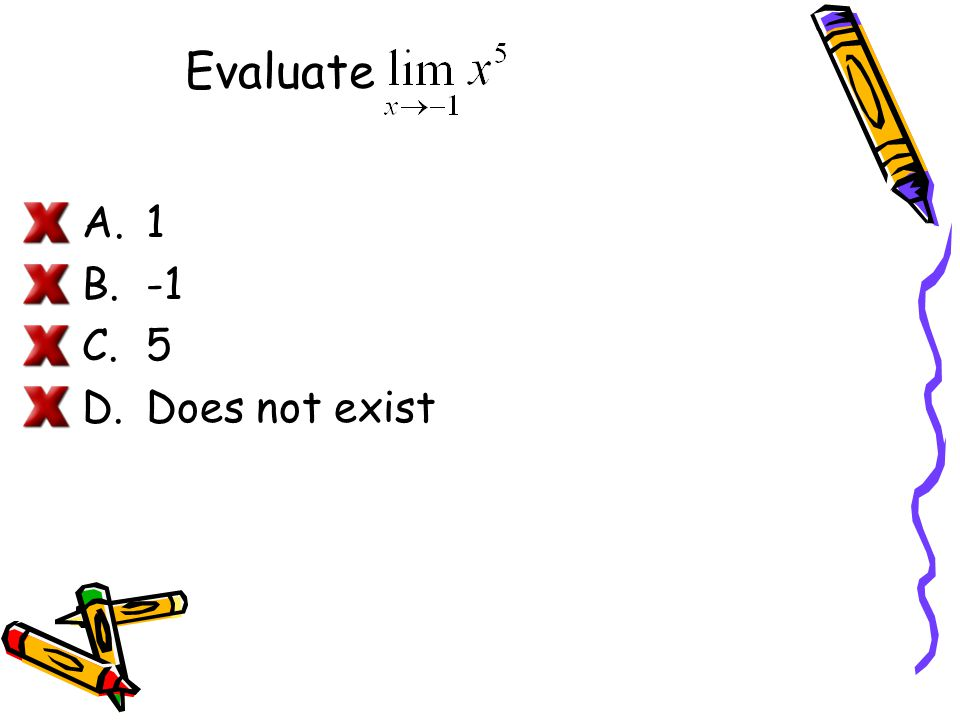 Evaluate 1 -1 5 Does not exist