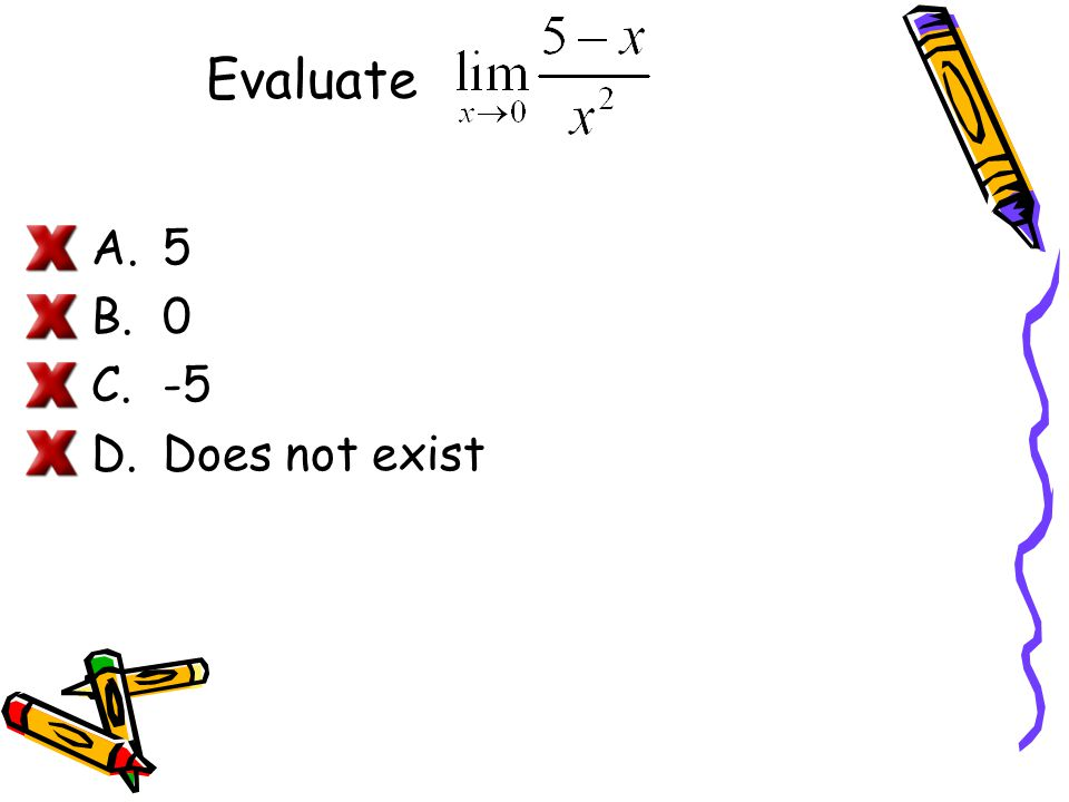 Evaluate 5 -5 Does not exist