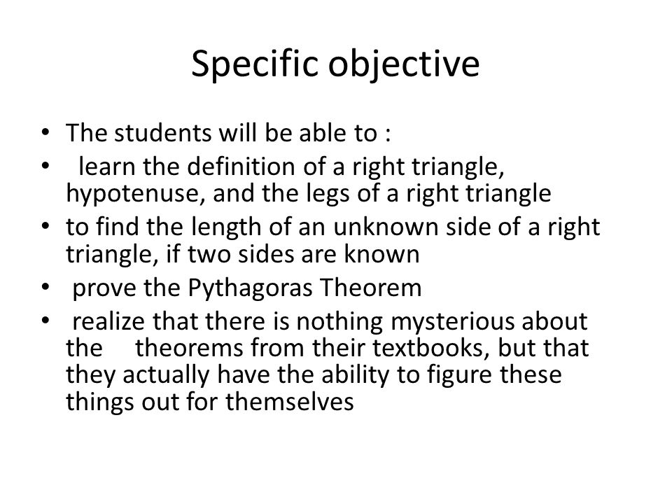 Specific objective The students will be able to :
