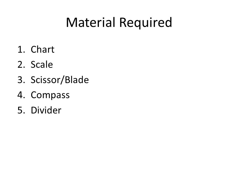Material Required Chart Scale Scissor/Blade Compass Divider