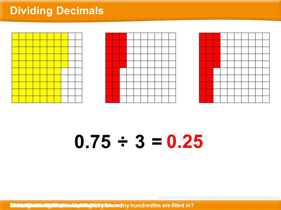Dividing Decimals 0.75. ÷ 3. = 0.25. What decimal does this represent How many hundredths are filled in
