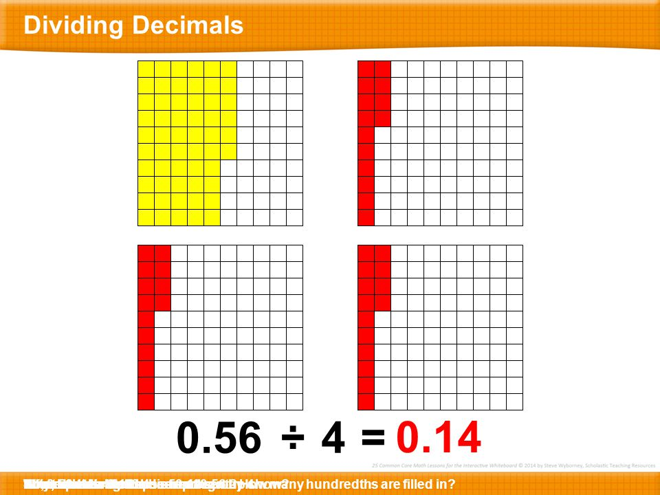 Dividing Decimals What decimal does this represent How many hundredths are filled in Fifty … … six.