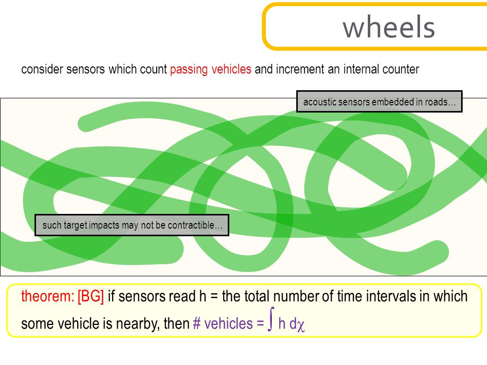 wheels consider sensors which count passing vehicles and increment an internal counter. acoustic sensors embedded in roads…