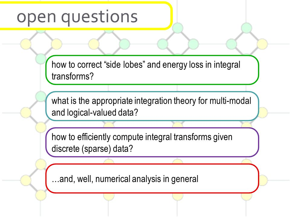 open questions how to correct side lobes and energy loss in integral transforms