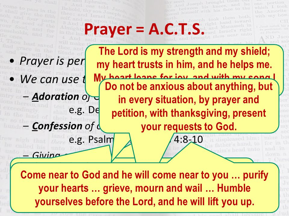 Prayer = A.C.T.S. Prayer is personal communication from us to God.