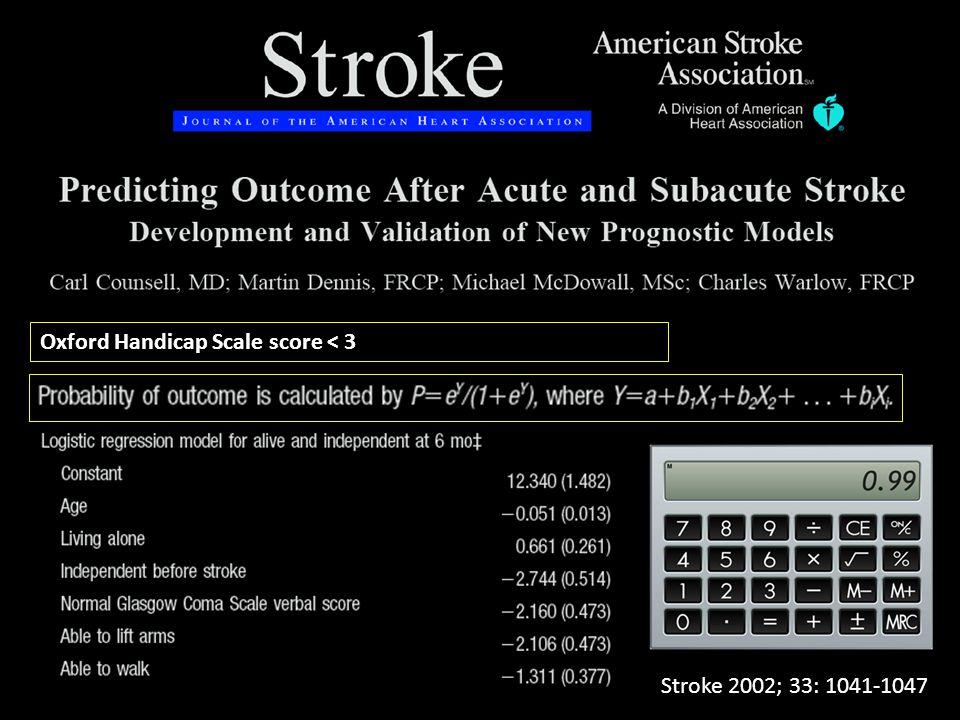 Oxford Handicap Scale score < 3