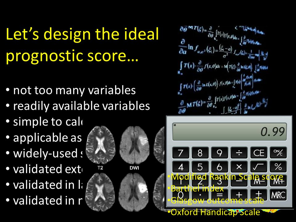 Let's design the ideal prognostic score… not too many variables