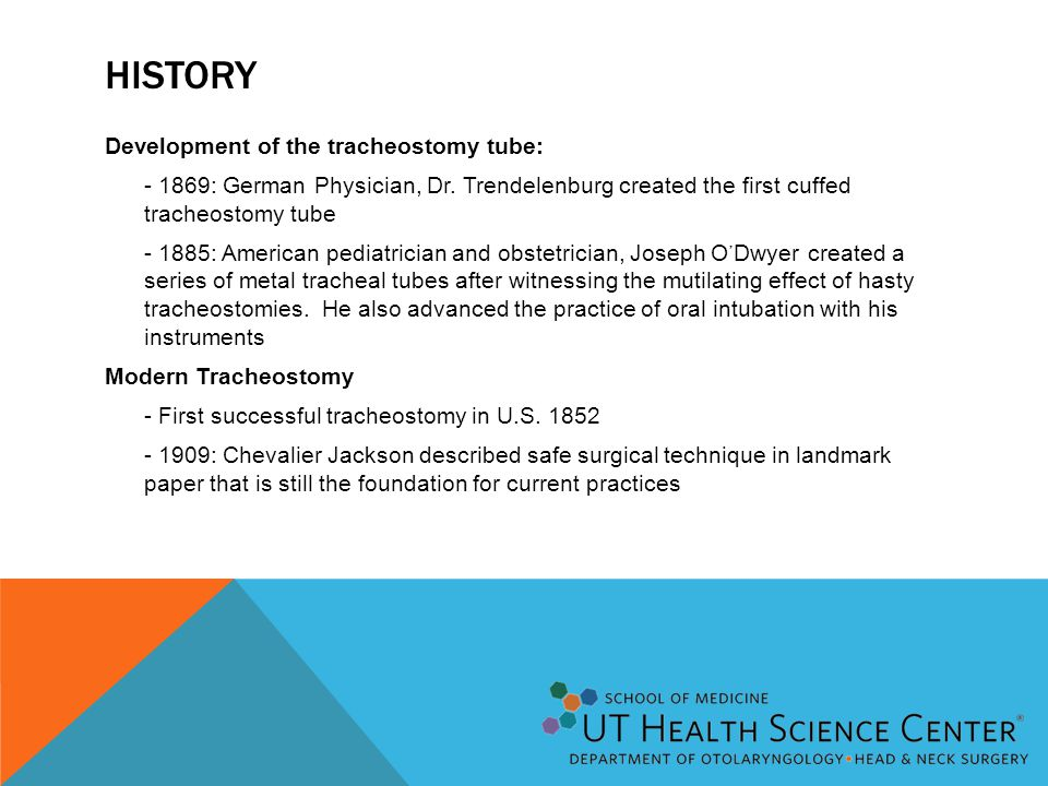 HISTORY Development of the tracheostomy tube: