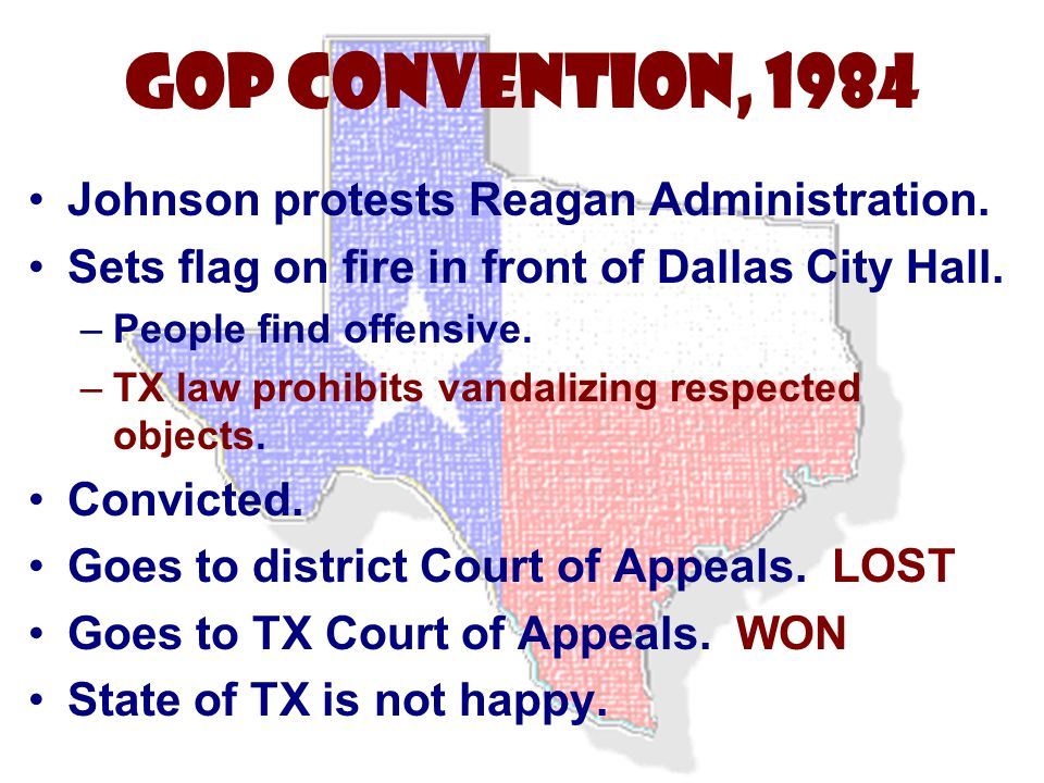 GOP Convention, 1984 Johnson protests Reagan Administration.