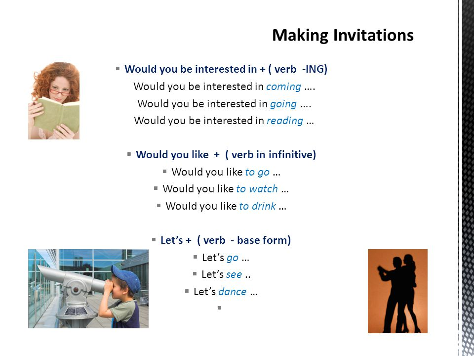 Making Invitations Would you be interested in + ( verb -ING)