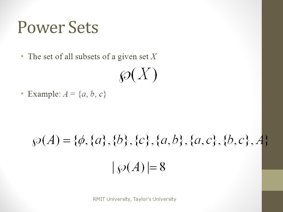 Power Sets The set of all subsets of a given set X