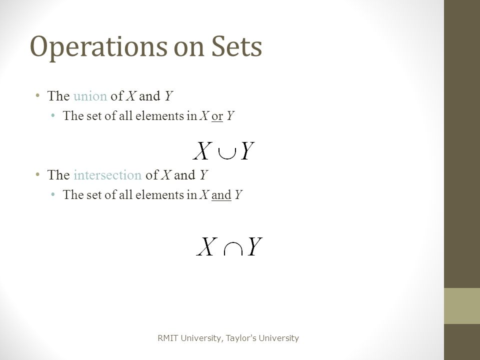 Operations on Sets The union of X and Y The intersection of X and Y