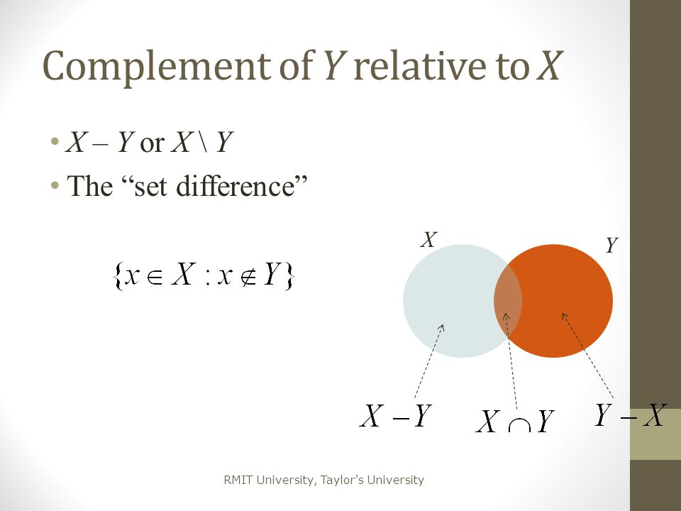 Complement of Y relative to X