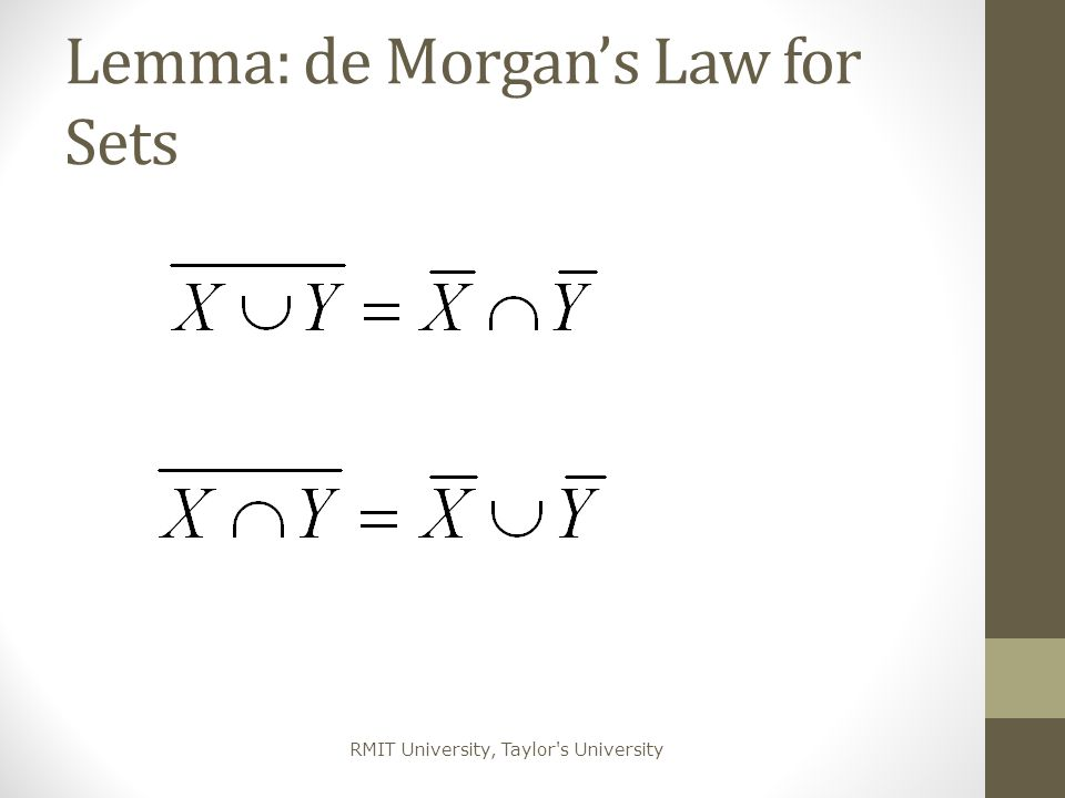 Lemma: de Morgan's Law for Sets