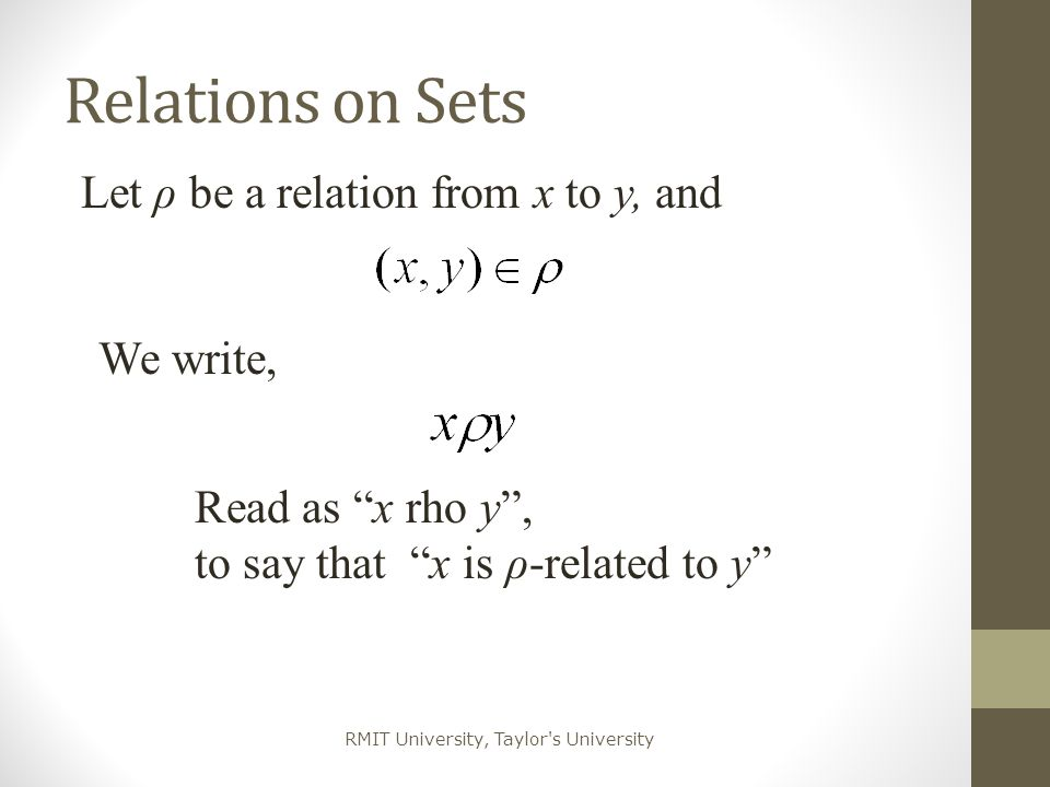 Relations on Sets Let ρ be a relation from x to y, and We write,