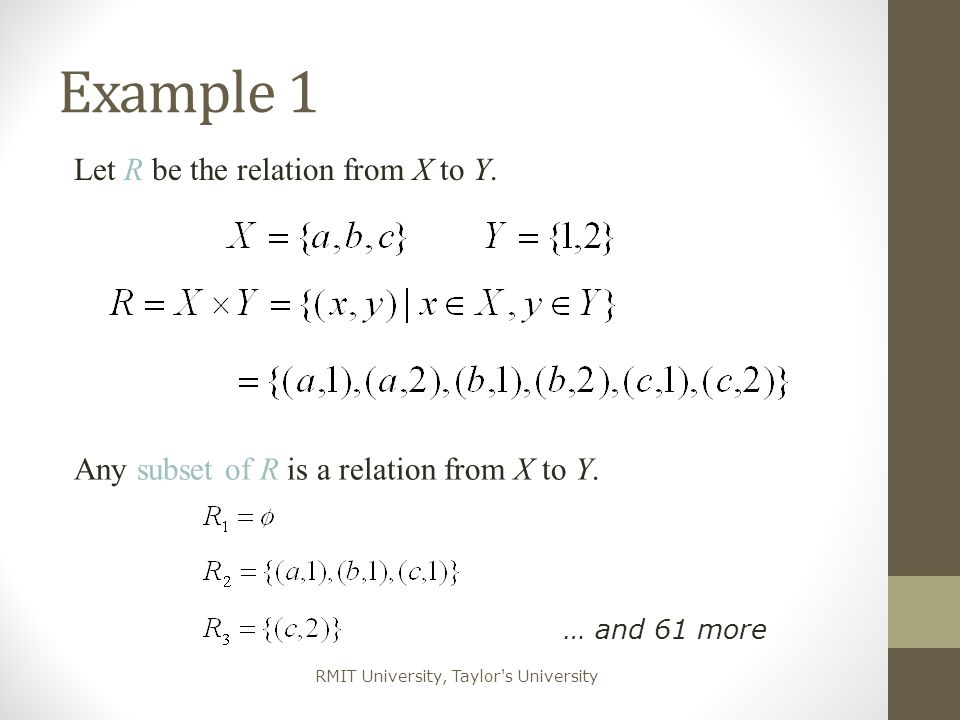 Example 1 Let R be the relation from X to Y.