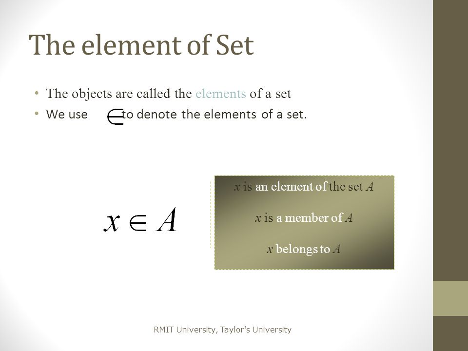 x is an element of the set A
