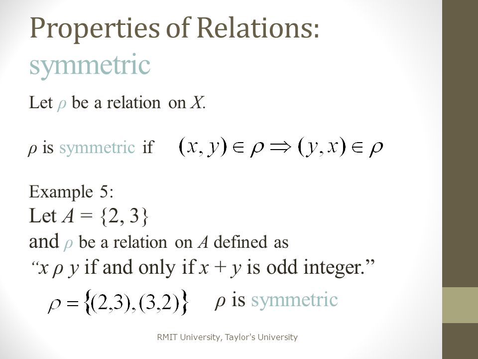 Properties of Relations: symmetric
