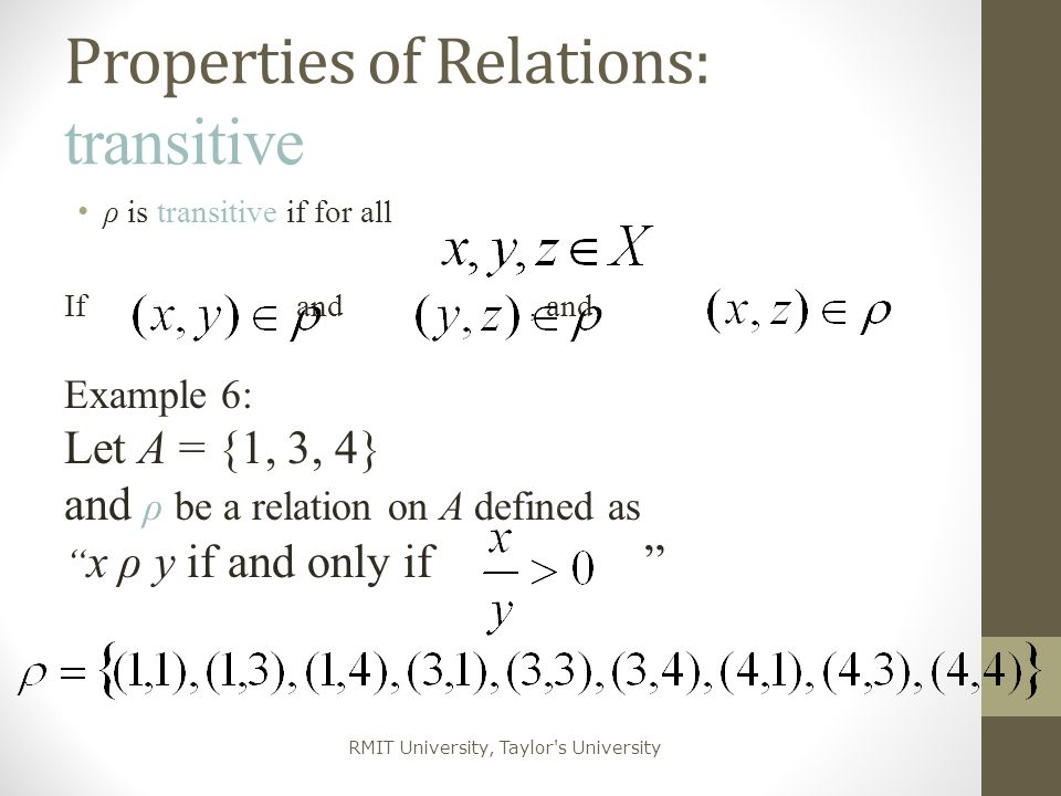 Properties of Relations: transitive