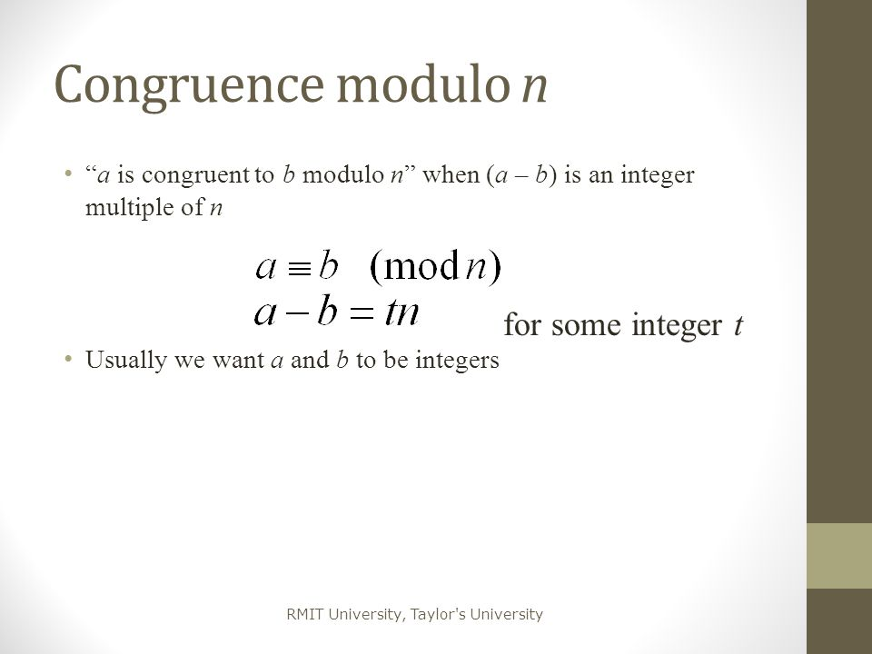 Congruence modulo n for some integer t