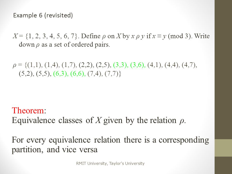 Equivalence classes of X given by the relation ρ.