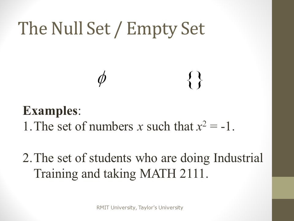 The Null Set / Empty Set Examples: