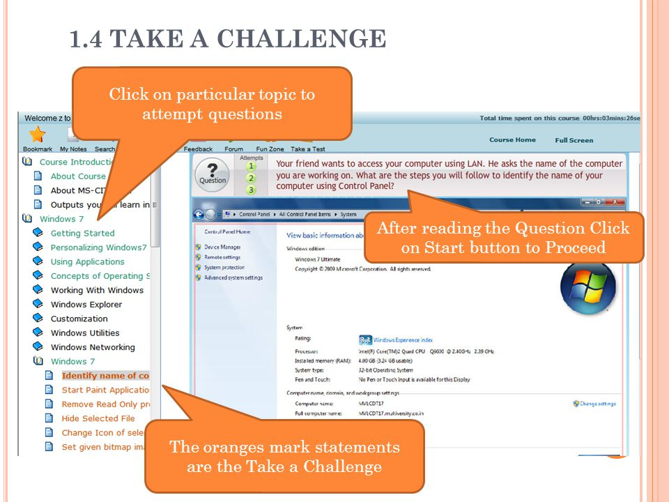 1.4 TAKE A CHALLENGE Click on particular topic to attempt questions