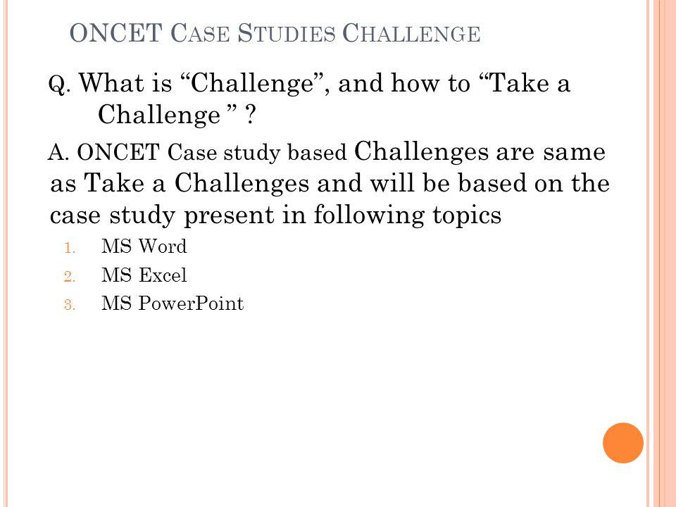 ONCET Case Studies Challenge