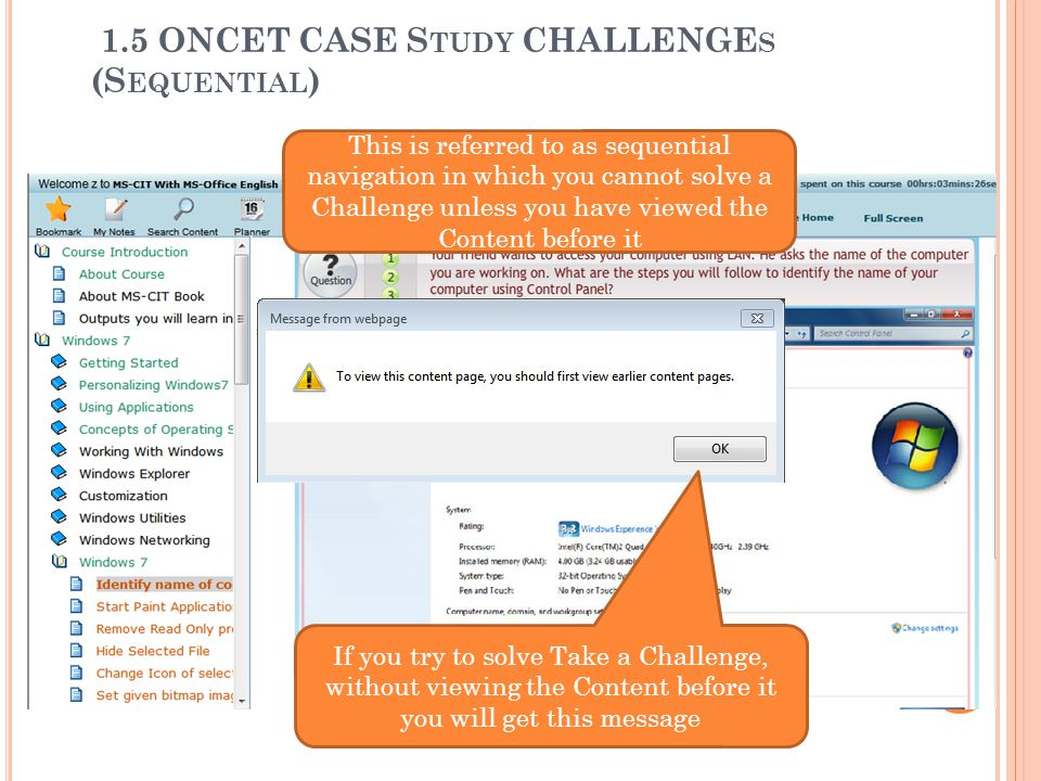 1.5 ONCET CASE Study CHALLENGEs (Sequential)