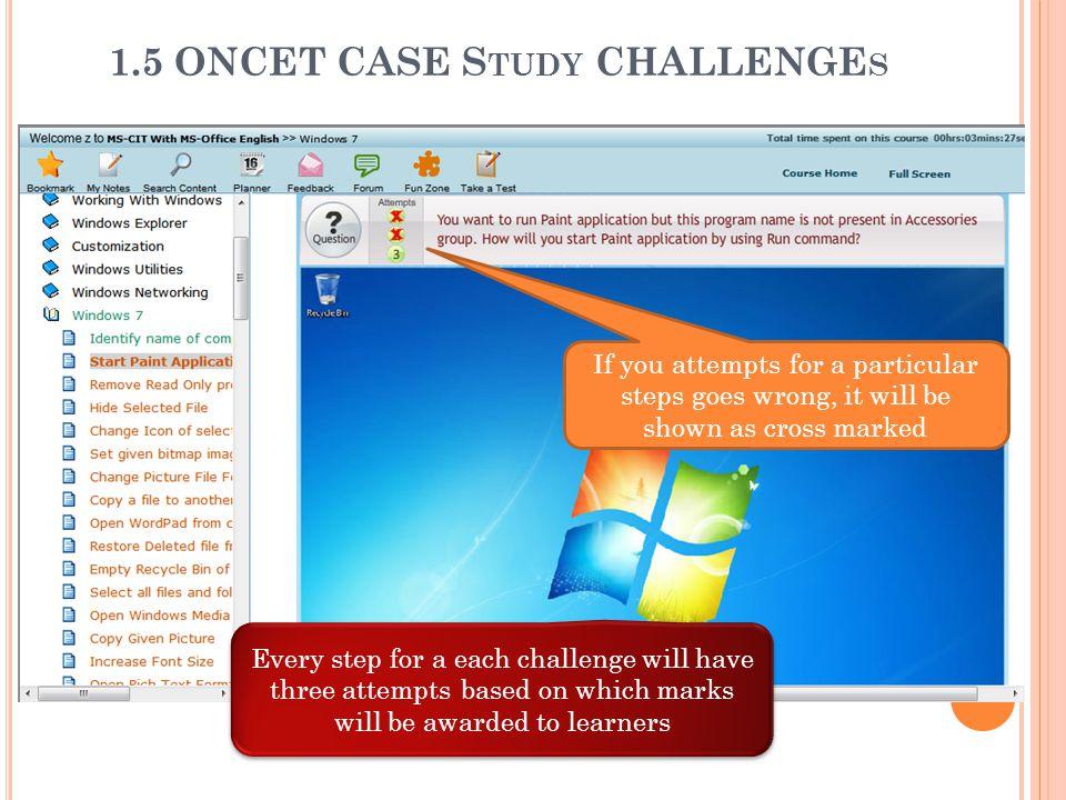 1.5 ONCET CASE Study CHALLENGEs