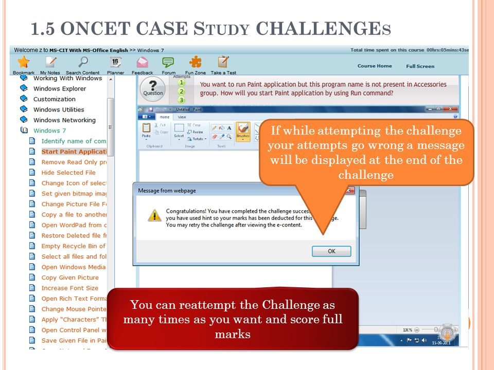 1.5 ONCET CASE Study CHALLENGEs