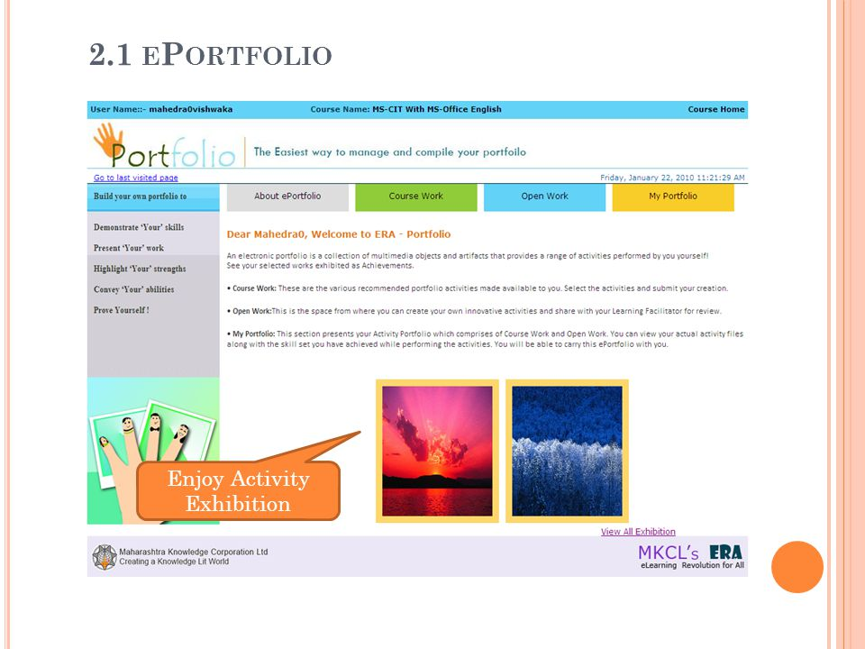 2.1 ePortfolio Enjoy Activity Exhibition
