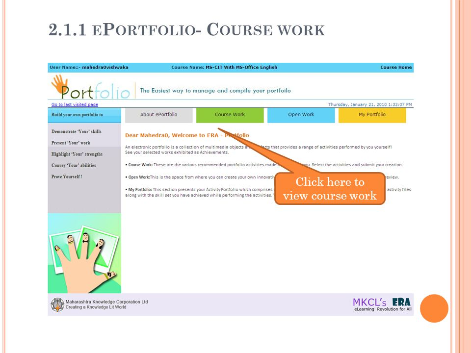 2.1.1 ePortfolio- Course work