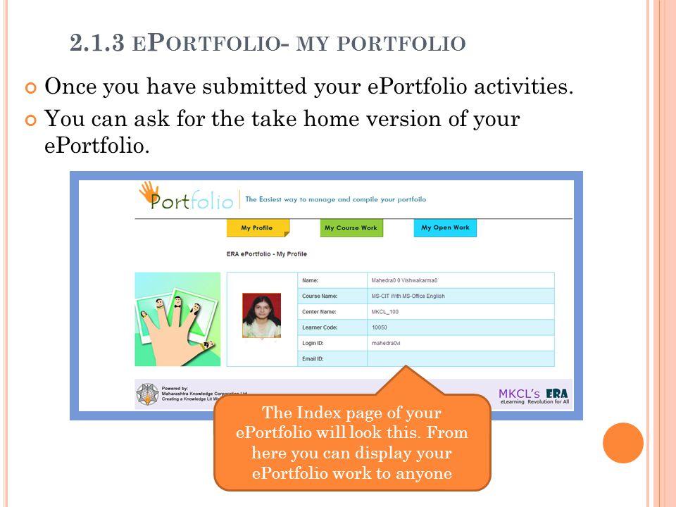 2.1.3 ePortfolio- my portfolio