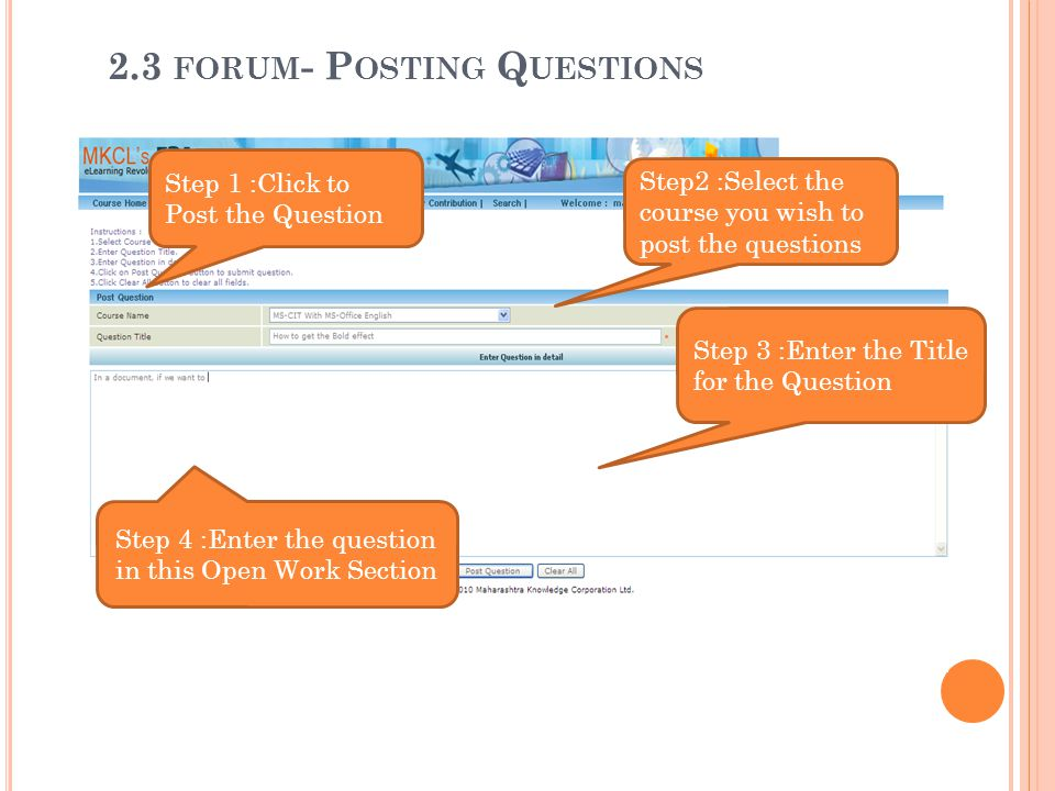 2.3 forum- Posting Questions