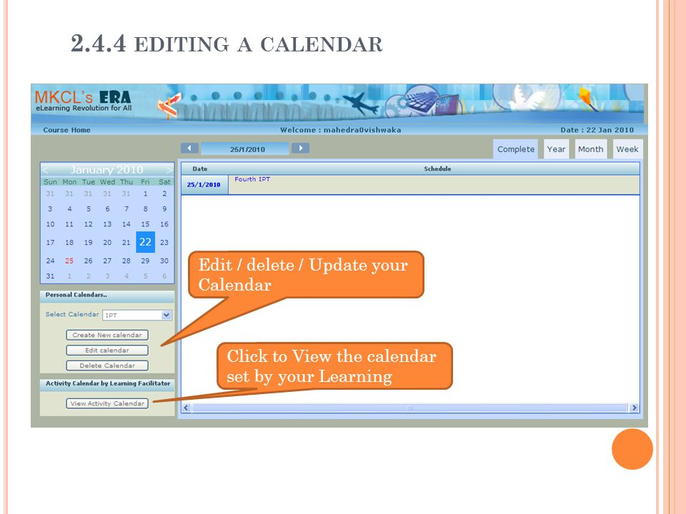 2.4.4 editing a calendar Edit / delete / Update your Calendar