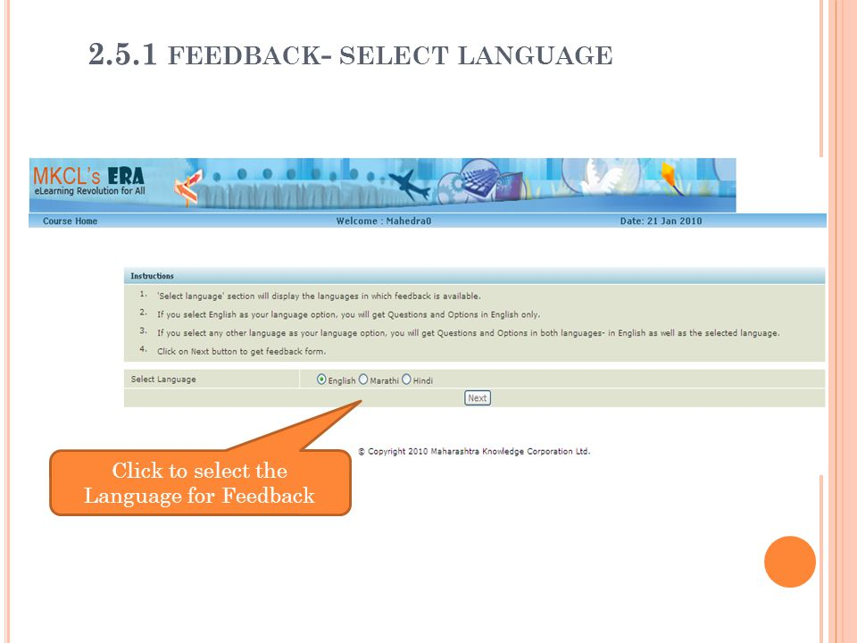 Click to select the Language for Feedback