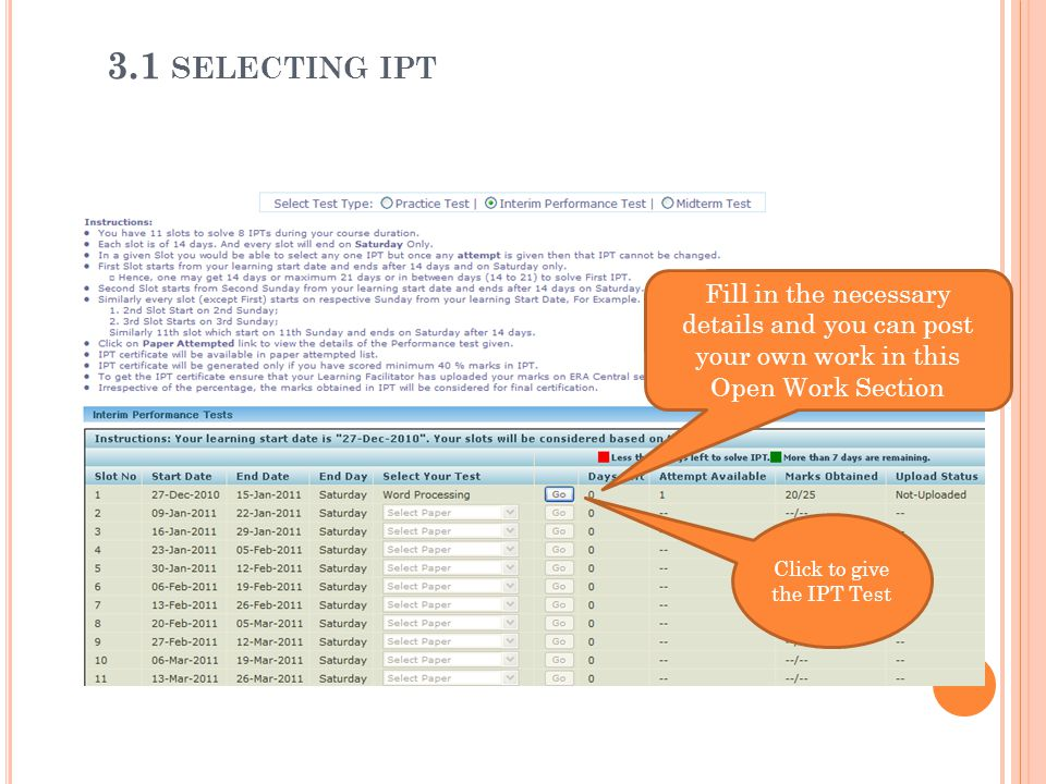 Click to give the IPT Test