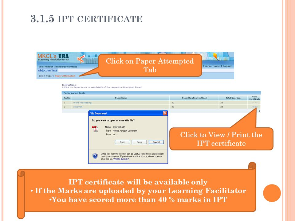 3.1.5 ipt certificate Click on Paper Attempted Tab