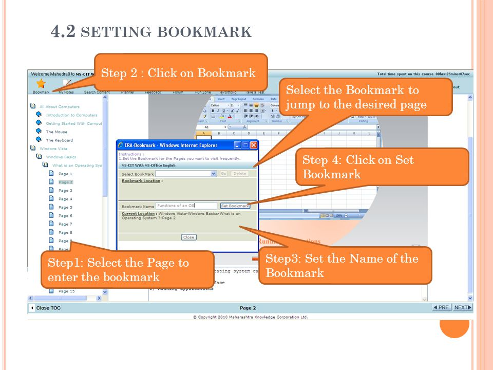 4.2 setting bookmark Step 2 : Click on Bookmark