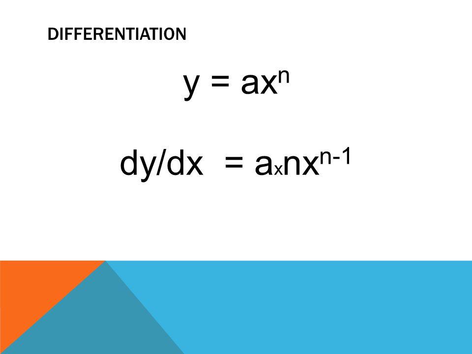 differentiation y = axn dy/dx = axnxn-1