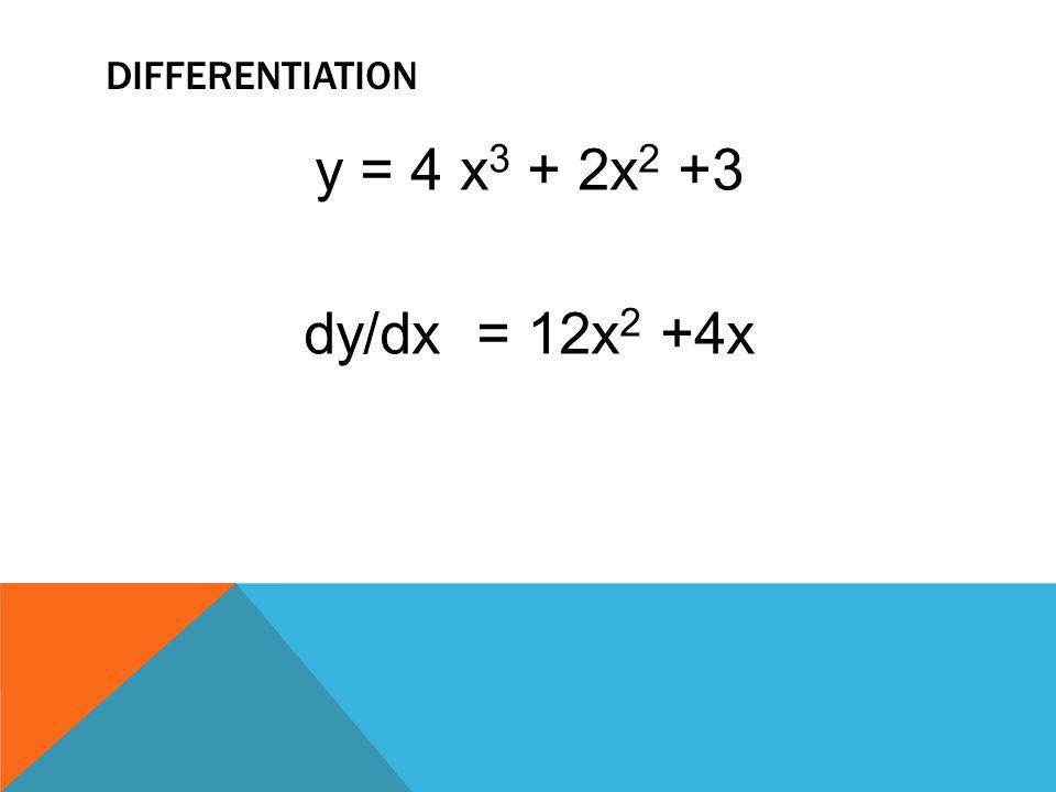 differentiation y = 4 x3 + 2x2 +3 dy/dx = 12x2 +4x