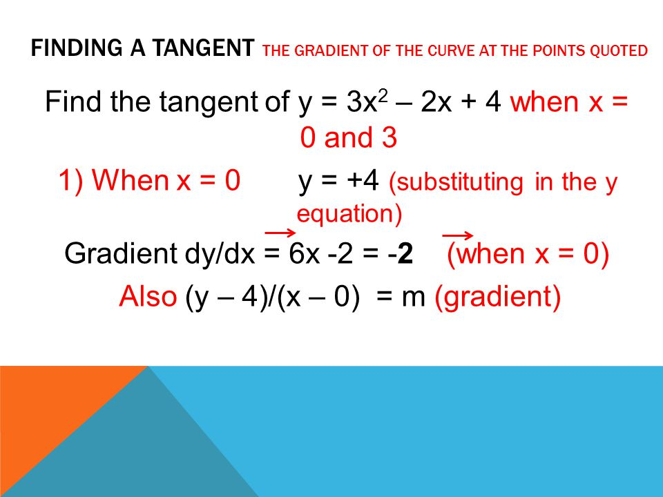 Finding a tangent the gradient of the curve at the points quoted