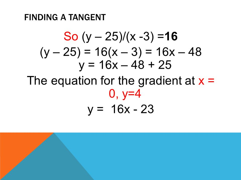 Finding a tangent So (y – 25)/(x -3) =16 (y – 25) = 16(x – 3) = 16x – 48 y = 16x – 48 + 25 The equation for the gradient at x = 0, y=4 y = 16x - 23