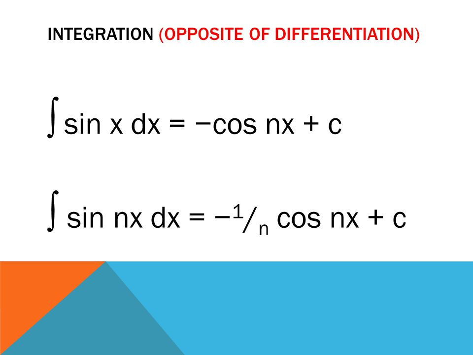 Integration (opposite of differentiation)