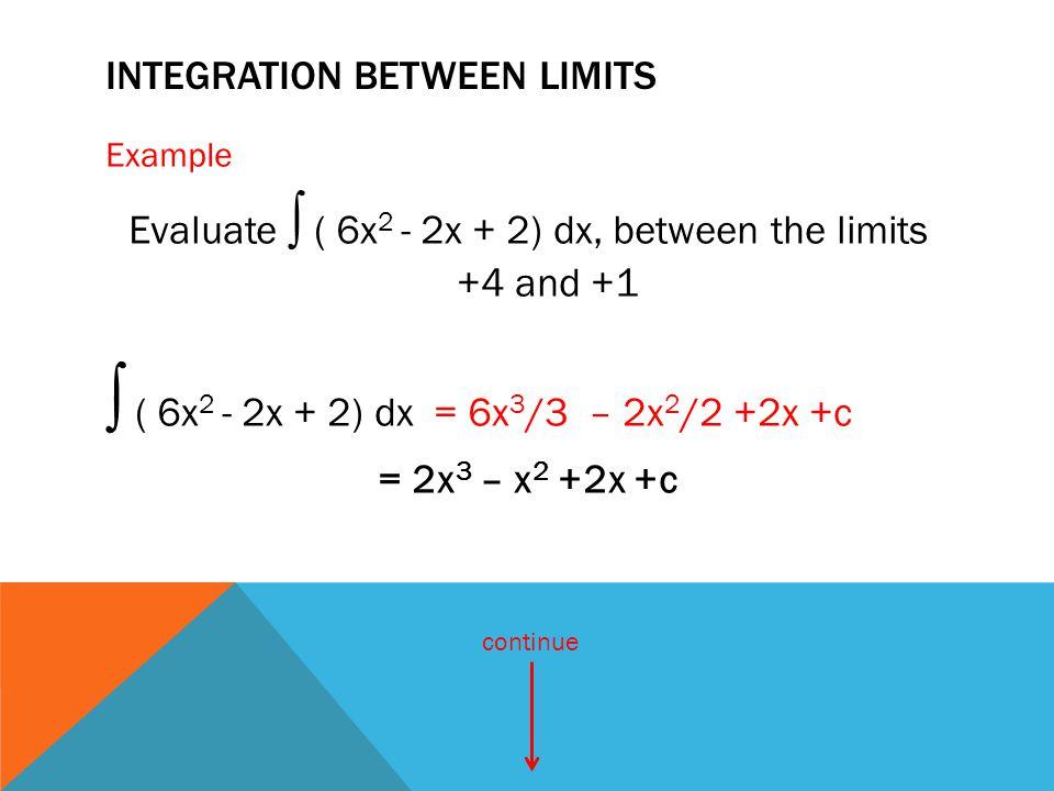 IntEgraTIon BETWEEN LIMITS