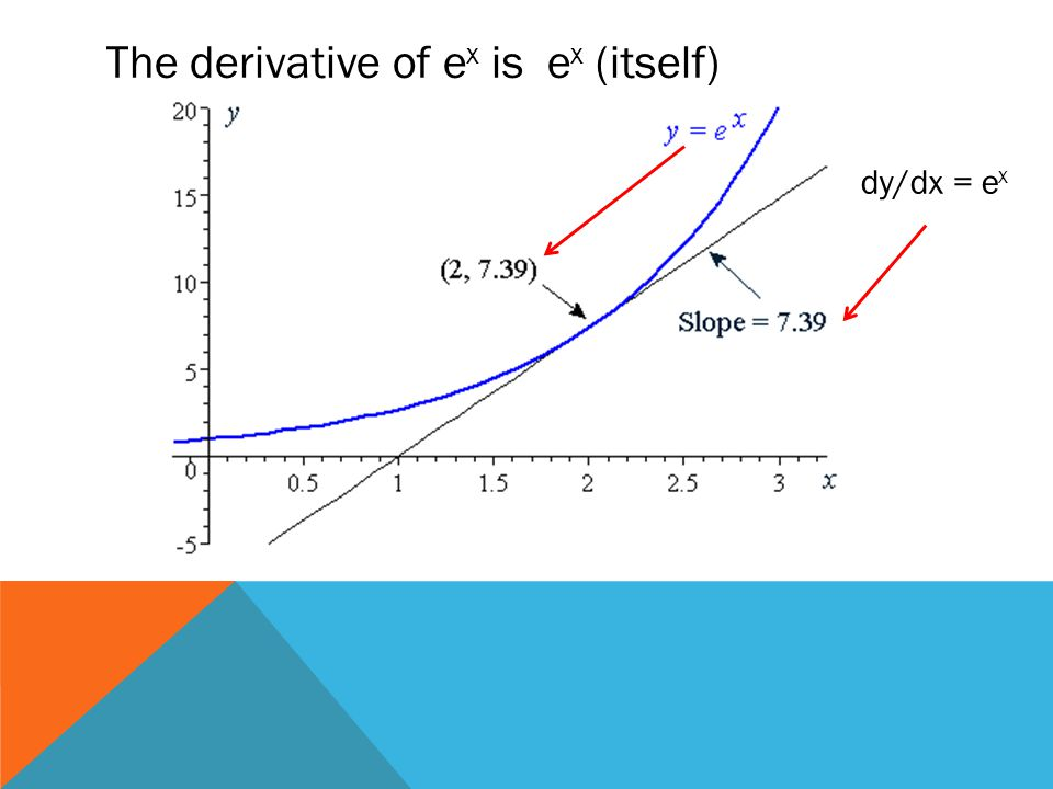 The derivative of ex is ex (itself)
