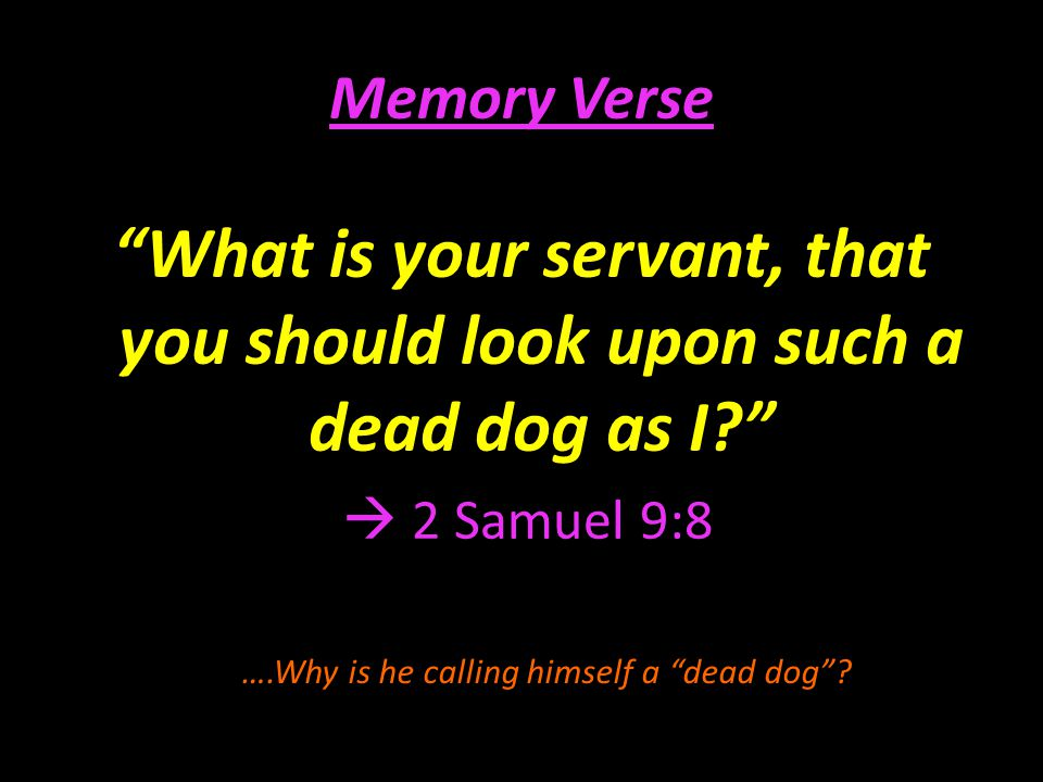 Memory Verse What is your servant, that you should look upon such a dead dog as I  2 Samuel 9:8.